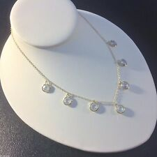 Bib Necklace-Chain With Bezel Set CZ Pendants-Yellow Gold Plated-Collar-Adjusts