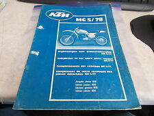 OEM KTM Spare Part Manual Catalogue 1978 MC 5