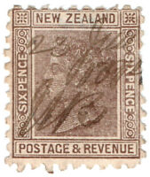 (I.B) New Zealand Revenue : Duty Stamp 6d (1891)
