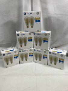 GE Basic LED Vintage Style Amber White 60W ST19 Medium Base LOT OF 14 BULBS