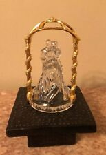 Bride and Groom Figurine Glass Wedding Cake Top Topper Gold Arch & Glass Gift