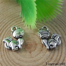 Antique Silver Alloy Cute Fox Little Animal Charms Pendants Findings 20x 50824