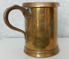 More details for antique victorian tavern pint tankard/measure solid heavy copper/brass