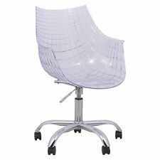 LeisureMod Ashville Swivel Arm Chair With Chromed Legs in in Clear