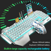 Wireless Gaming Keyboard and Mouse Rainbow LED Backlit Rechargeable Set Mice USB