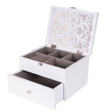 White Wooden Jewellery jewelry Box Display Drawer with mirror Large Present 13w
