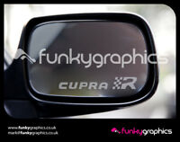 SEAT LEON CUPRA R LOGO MIRROR DECALS STICKERS GRAPHICS DECALS x3 IN SILVER ETCH