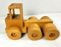 Vintage Hand Crafted Wood Tractor Trailer Truck Toy Truck