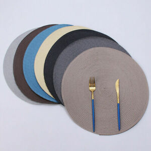 4Pcs/Set Round Jacquard Weaved Non Slip Placemats Dining Table Place Mats UK