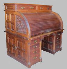 Rare Antique Oak Roll top Desk - Fancy and Original