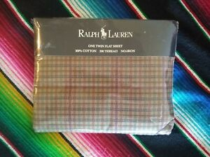 New Vintage Ralph Lauren Churchill Twin Flat Sheet Made in USA 1980s