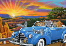 Kittens cat car squirrels Bryce Canyon vacation sunset fantasy OE ACEO print art