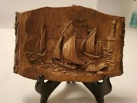 """Sailboats Carved From Wood With Exposed Live Edge 8"""" x 4.5"""" Seagulls& Lighthouse"""