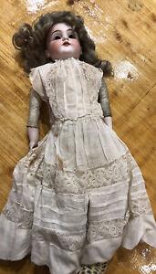 """Kestner Antique Bisque Doll 20"""" Marked """"DeP 154 7 1/2"""" Leather Body"""