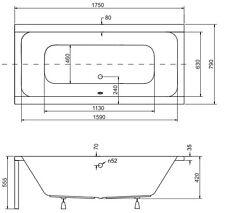 Badewanne Rechteck Acryl Füße 155x70, 165x75, 170x75, 175x80, 180x80 QUADRO FO