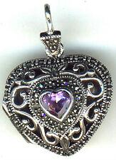 "925 Sterling Silver Heart Locket Amethyst & Marcasite Pendant Hallmarked L1.1/5"""