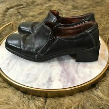 Josef Seibe Women's Sz US 8.5 EUR 39 Brown Leather Zip Loafer 2 in. Heels