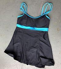 WOMAN'S MAINSTREAM BLACK AQUA BLUE SWIMSUITDRESS 10 CLEAN EUC SMALL MARK STILL👌