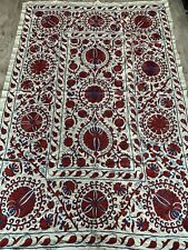 UZBEK VINTAGE HAND EMBROIDERY SUZANI Gift Wall Hanging Quilt Bedding