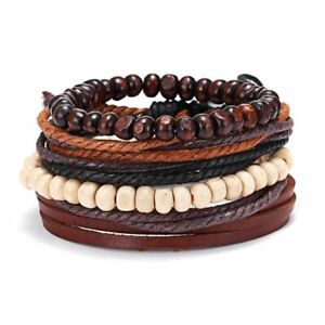 4pcs Mens Leather Multilayer Wrap Braided Wristband Punk Bracelet Bangle Gift