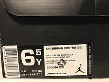 Nike Air Jordan 3 Retro GS White/Fire Red/Cement Grey Size 6.5Y Worn Once!