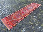 Handmade vintage rug, Turkish wool rug, Bohemian rug | 2,7 x 10,4 ft
