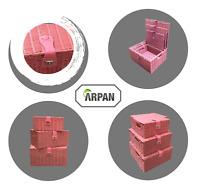 Storage Basket Hamper Resin Woven Pink Set of 3 Box With Lid & Lock
