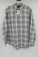 NWT Cabela's men's L long sleeve button down flannel white tundra plaid shirt
