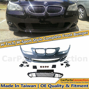 M-Sport Style Front Bumper Cover Kit For BMW E60 5-Series 04-07 Fog Lights Pair