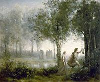 Orpheus Leading Eurydice- Jean Baptiste Camille Corot 75cm x 61.5cm Canvas Print