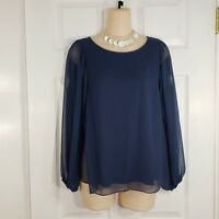 ALYA Size Small Blue Sheer Long Sleeve Shirt Top Blouse Womens Open Cross Back