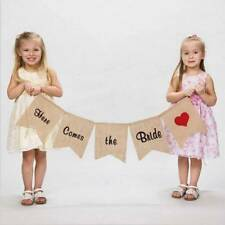 "Burlap Bunting Banner ""Here Comes the Bride"" Sign Flags Rustic Wedding Decor"