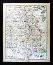 1906 Johnston Map United States Midwest Missouri Colorado Dakota Nebraska Texas