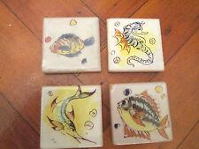 4 decorative in miniatura vintage dipinto a mano mare creatura TASSELLI