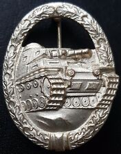 ✚7768✚ German Army Tank Battle Badge in Silver post WW2 1957 pattern ST&L