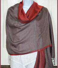 Hand Woven Double Sided Silk Shawl in Red and Gray Color from India!