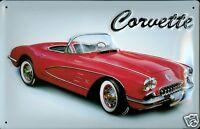Corvette Letrero de Metal Placa Signo 3D en Relieve Arqueado Lata 20 X 30CM