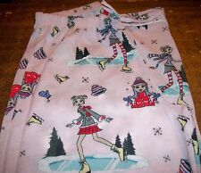 Girls Pajama Pants sz 10 OLD NAVY Pink Polyester Girls Ice Skating on Ponds NEW