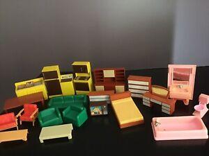 Vintage Arco Plastic Dollhouse Furniture Kitchen Bathroom Living Room Lot Of 20