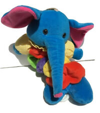 Vtg Russ Berrie Plush Pull String Musical Elephant 'Trunks' Hanging Crib Toy