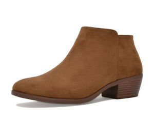TOETOS Womens Chunky Booties Low Block Heel Ankle Boots Zip Up Casual Shoes