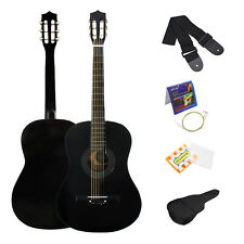 "Black 38"" 6-String Beginner Acoustic Guitar Plywood with Bag Strap Tuner Strings"