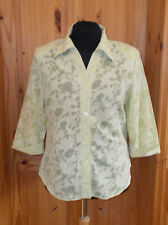 DRESSBARN chartreuse citrus green-yellow floral 3/4sleeve blouse shirt top 14-16
