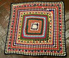 "Multicolor Retro Funky Hand Crochet Granny Square Afghan 40"" One Square Pattern"