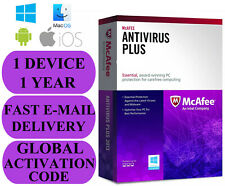 McAfee ANTIVIRUS 1 dispositivo/1 ANNO Globale Chiave 2020 e-mail solo NO CD!!!