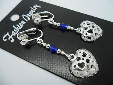 A PAIR OF TIBETAN SILVER DANGLY HEART & COBALT BLUE BEAD CLIP ON  EARRINGS. NEW.