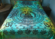 Nuevo Om Mantra Doble Colcha Cobertor hippy de comercio justo Budismo Om Mani Padme Hum