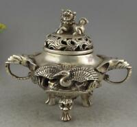 Collectible Decor Old Handwork Miao Silver Carve Crane Elephant Incense Burner