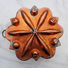 ancien moule à gateaux patissier cuivre rouge etamé forme étoile décor rosace