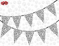 Paw Print Black and White Theme Bunting Banner Birthday party by PARTY DECOR UK